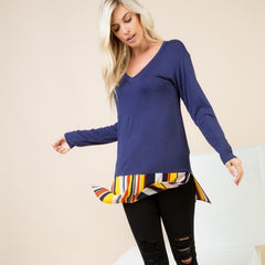 Long Sleeve V-Neck Tee w/Contrast Stripes