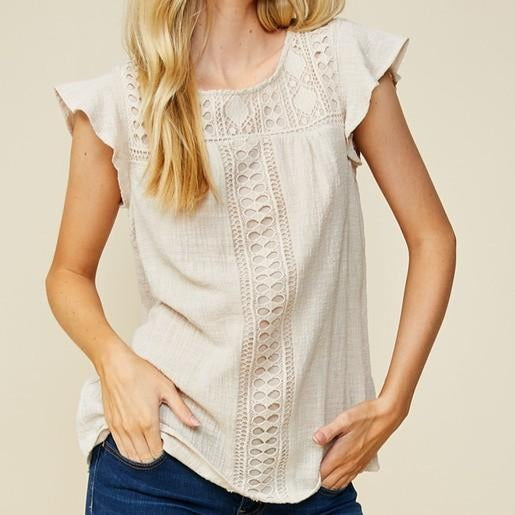 Faux Linen Crocheted Lace Top