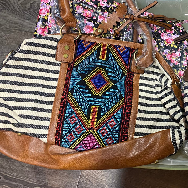 Aztec Embroidered Handbag - Blue Stripe