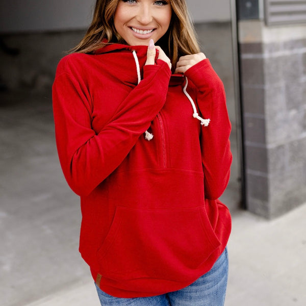 Ampersand Ave. Performance Fleece Halfzip - Cherry
