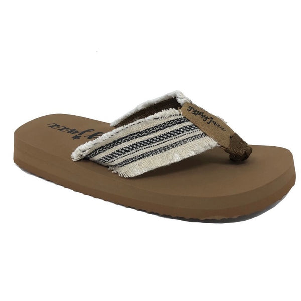 Gypsy Jazz Flip Flops - Tan w/Cream/Black Stripes