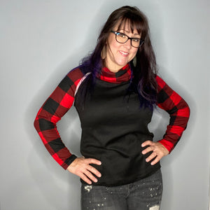 Buffalo Plaid Cowl Neck Raglan Sleeve Top