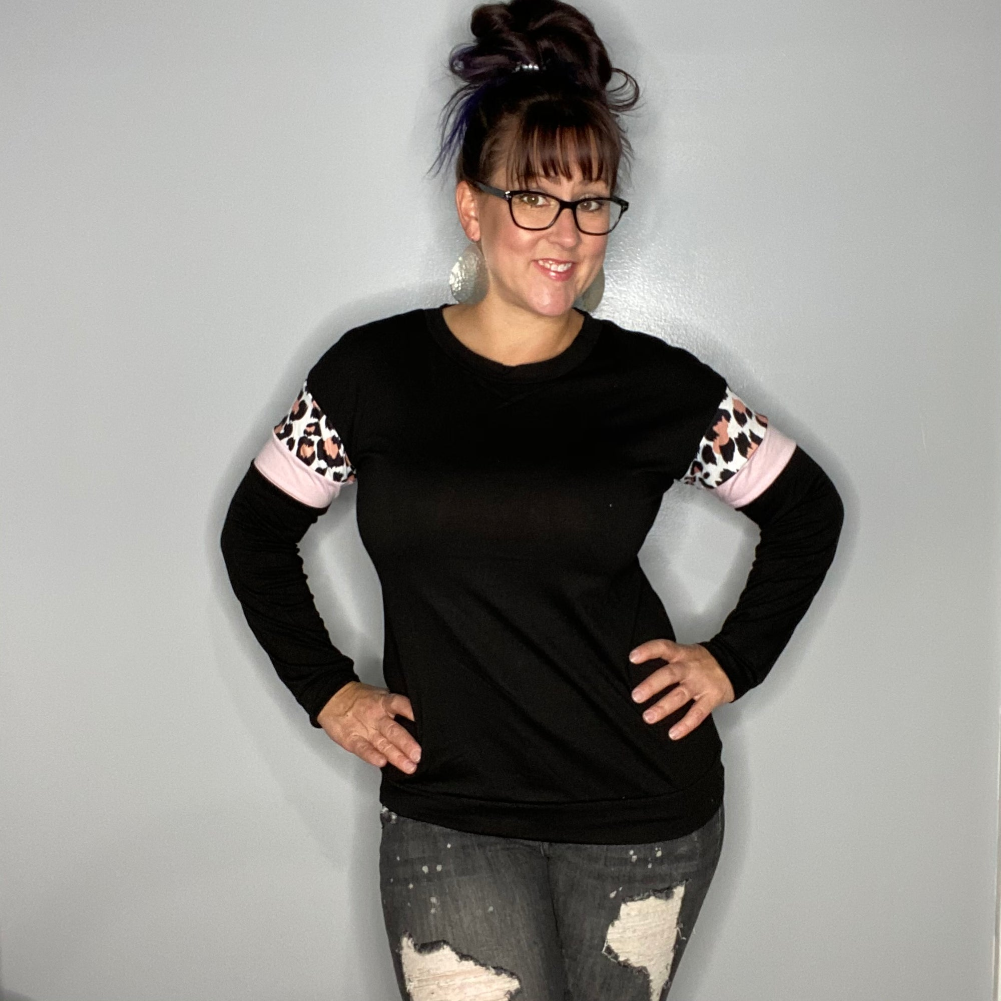 Black Long Sleeve Leopard Accent Top
