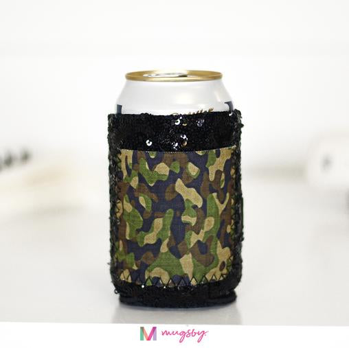 Sequin Camo Can Cooler