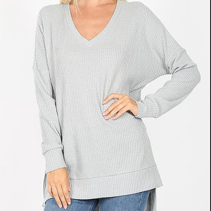 Hi-Low Brushed Waffle Weave Sweater