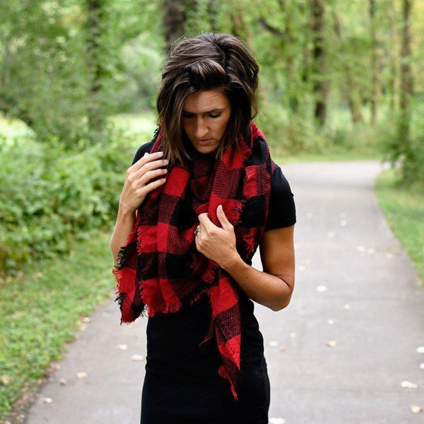 Red Buffalo Plaid Blanket Scarf
