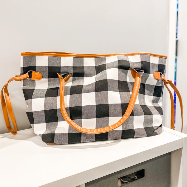 Oversized Tote - White Buffalo Plaid