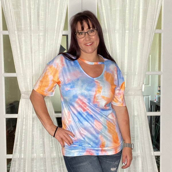 V-Neck Tie Dye Tee - Blue/Orange