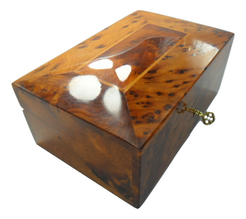 Handcrafted Thuya wooden box with compartments and key Essaouira Morocco