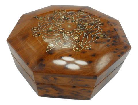 Handcrafted octagon-shaped thuya wooden box from Essaouira Morocco