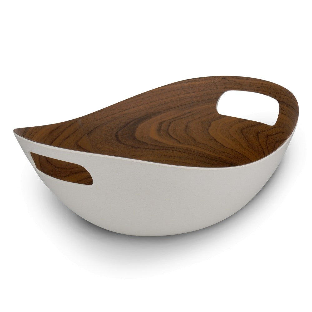 Bamboo Walnut Basic White Basket 30cm
