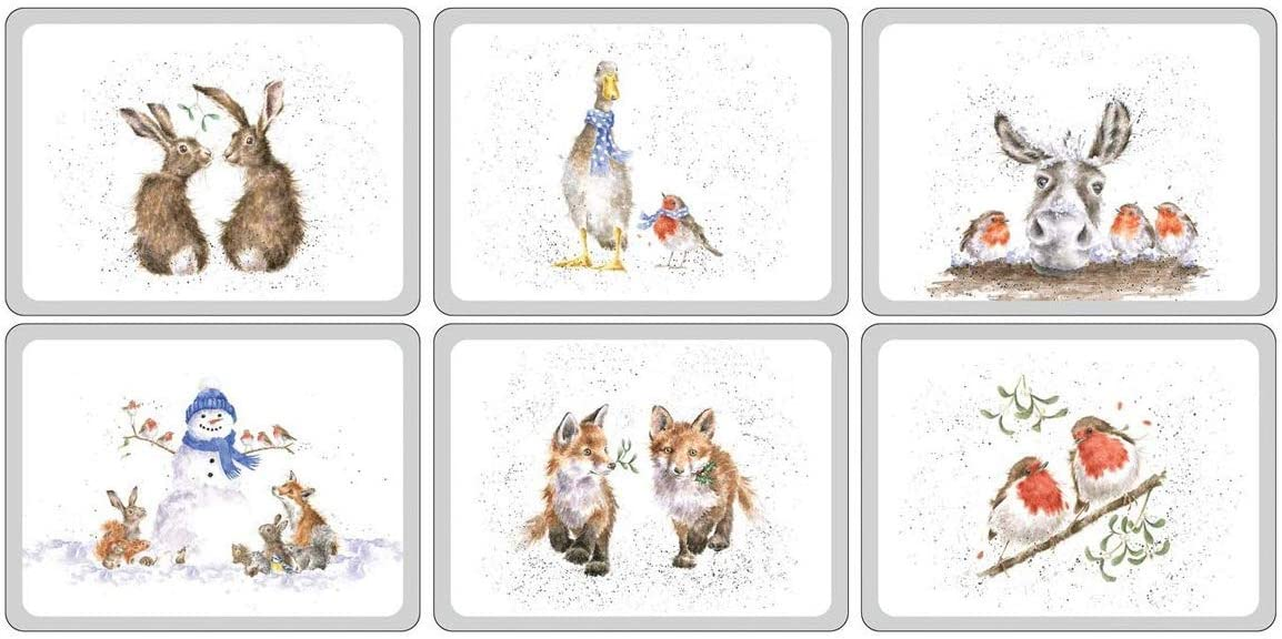 "Wrendale Pimpernel Christmas Placemats set of 6 Luncheon (12x9"")"