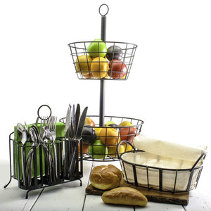Natural Living 2 Tier Basket Stand