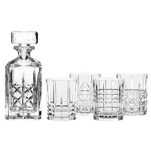 HIGHLAND WHISKY DECANTER SET OF 5
