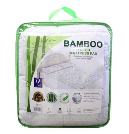 Bamboo Fitted Mattress Pad Queen