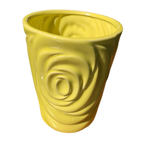 Yellow planter, rose detail planter, bright yellow planter, beautiful planter