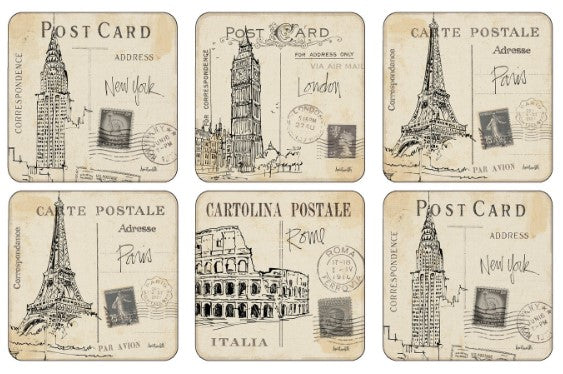 Pimpernel Coasters set of 6 Post Card Sketches