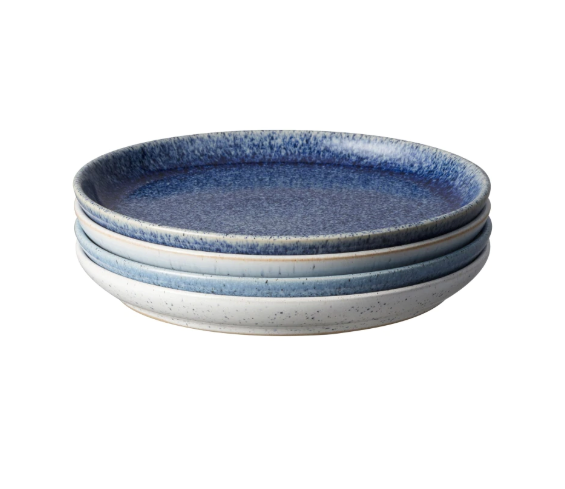 Denby Studio Blue Coupe Salad Plates Set of 4