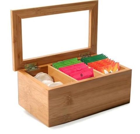 3 COMPARTMENT BAMBOO TEA BOX
