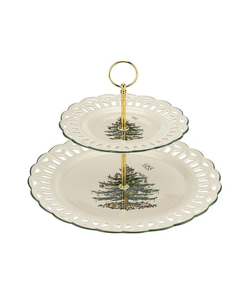 Spode Christmas Tree 2-Tier Pierced Cake Stand
