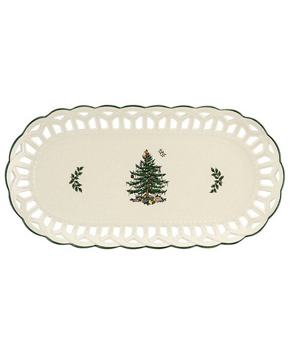 Spode Christmas Tree Pierced Sandwich Tray