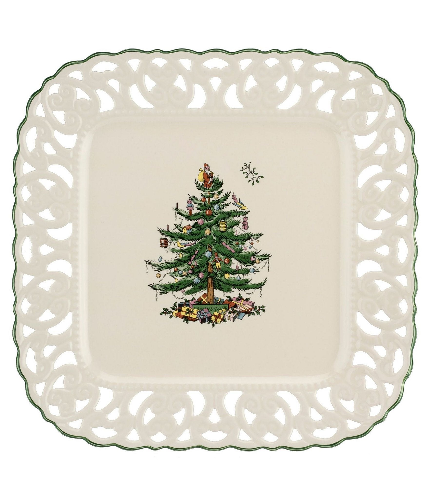 Spode Christmas Tree Square Pierced Platter