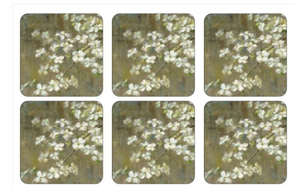 Pimpernel Dogwood in the Spring Coasters set of 6