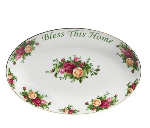 OLD COUNTRY ROSES BLESS THIS HOME PLATTER
