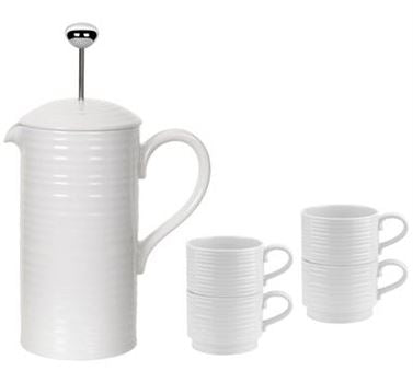 SOPHIE CONRAN WHITE CAFETIERE SET W/4 STACKING CUPS