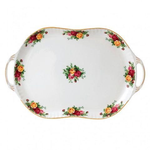 OLD COUNTRY ROSES HANDLED SERVING PLATTER 19""