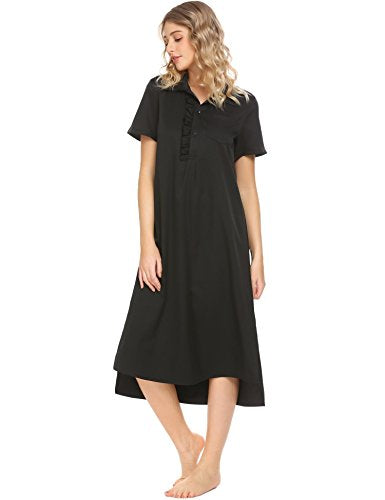 Ekouaer Womens Victorian Vintage Long Nightgown Ruffle Neck Sleep Dress