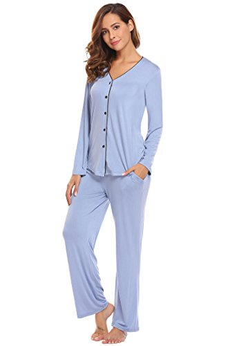 Ekouaer Women's Comfort Pajamas O-Neck Sleepwear Top With Pants Pajama Set 3/4 Sleeve PJ Set