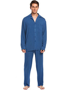 Ekouaer Men's Cotton Pajamas Long Sleeve Sleepwear Woven PJ Set M-3XL