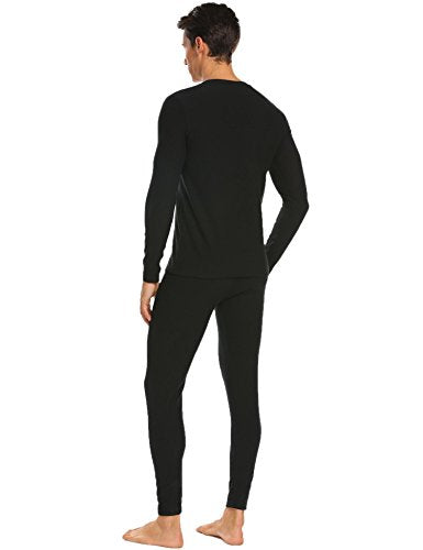Ekouaer Mens Long Johns Cotton Thermal Underwear Fleece Lined Base Layer Winter Set