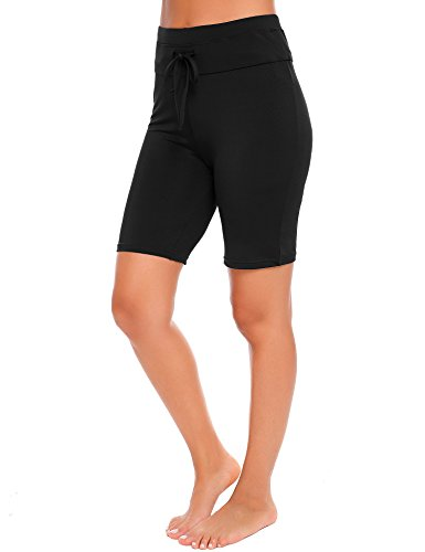 Ekouaer Women's Solid Stretch Board Shorts Sport Swimwear