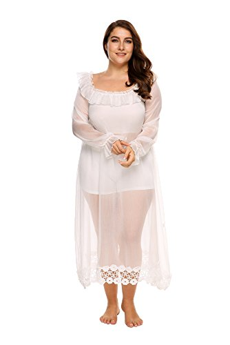 Ekouaer Long Sleeve Plus Size See-Through Nightgown Plus Size Swimsuit Cover up 2 in 1 Apparel