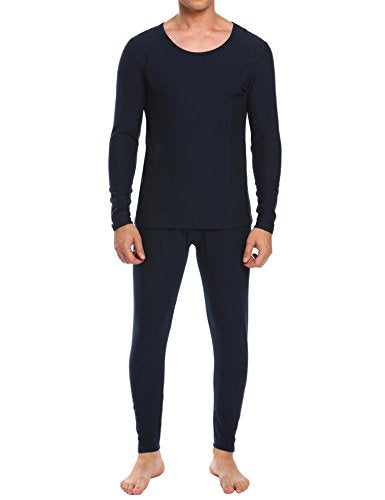 Ekouaer Men's Long Thermal Underwear Fleece Lined Winter Base Layering Set