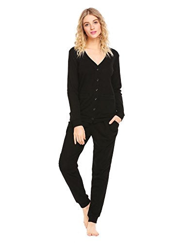 Ekouaer Women's Crew Neck Button Down Long Sleeve Basic Soft Knit Cardigan