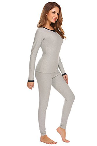 Ekouaer Womens Slimming Long Thermal Underwear Set Cotton Round Neck Top & Bottom Pajama