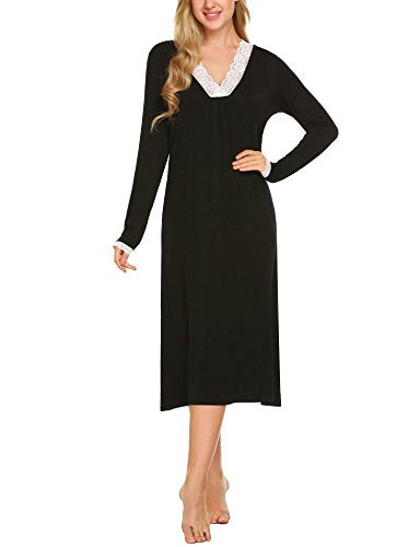 Ekouaer Sleepwear Women's Nightgown Sleep Shirt Long Sleeve Nightshirts