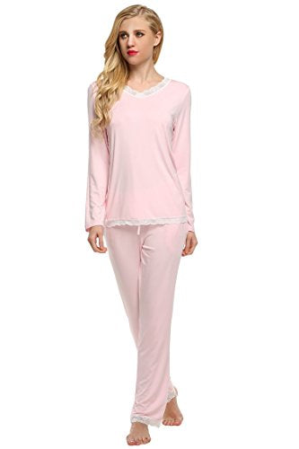 Ekouaer Pajama Set Women's Sleepwear Long Sleeve Shirt With PJ Pants (XS-XL)