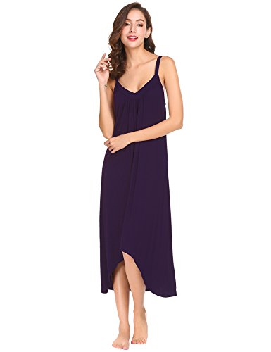 Ekouaer Womens Sleeveless Long Nightgown Summer Slip Night Dress Cotton Sleepshirt Chemise