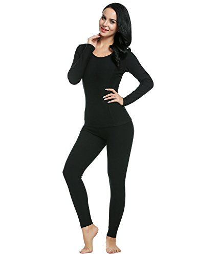 L'amore Women's Mid Weight Wicking Cotton Thermal Underwear Set Shirt&Leggings