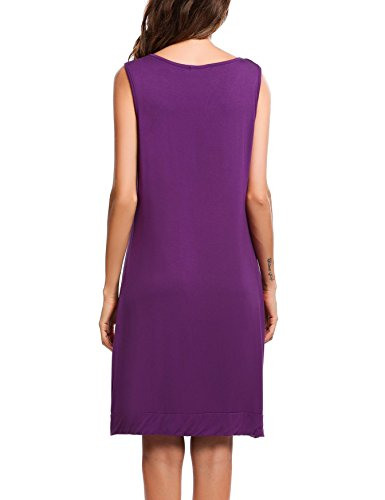 Ekouaer Women's Sleepwear Sleeveless Cotton Nightshirts Sleep Dress
