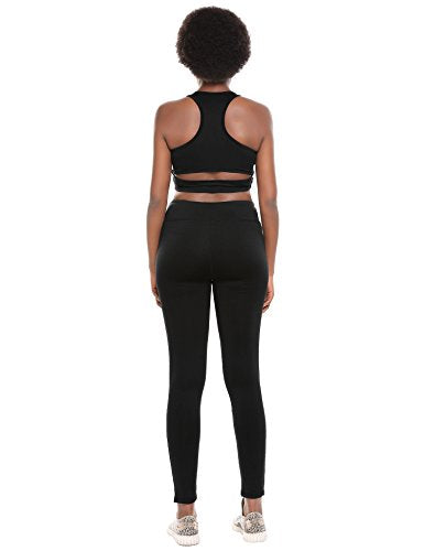 Ekouaer Womens Light Impact Sports Bras and High Waist Workout Leggings XS-XL