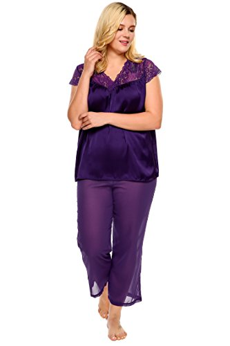 Ekouaer Women Plus Size V-Neck Lace Satin Sleepwear Tops and Pants Pajama Set