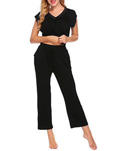 Ekouaer Cotton Sleepwear Short Sleeve Pajama Set With Long Pants For Women