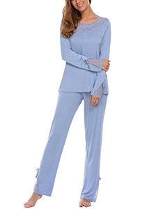 Ekouaer Women's Modal Sleepwear Round Neck Long Sleeve With Pants Pajamas Set S-XXL