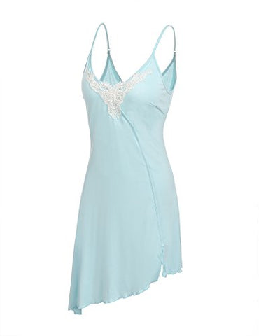 Ekouaer Plus Size Nightgown Women's Modal Sleepwear Sling Nighty Dress (Clear Blue,XXL)