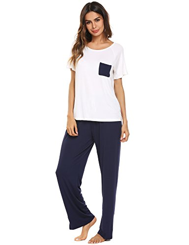 Ekouaer Womens 2 Piece Short Sleeve Pajama Set With Long Pants Sleepwear